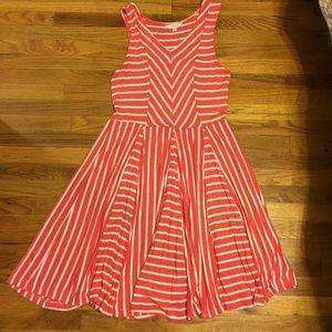 Coral and White Striped Dress